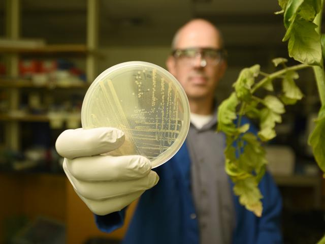 man in lab coat with innovation in agriculture
